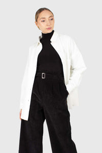 Black high waisted belted corduroy trousers4