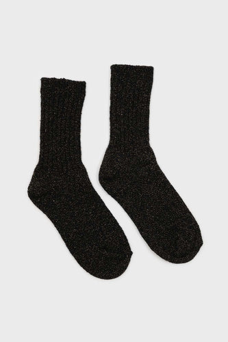 Black and gold glitter ribbed long wool socks1sx