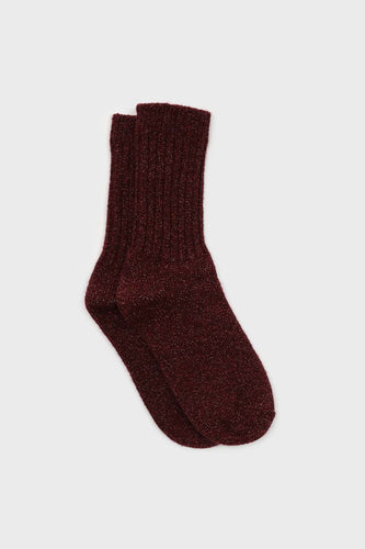 Burgundy and pink glitter ribbed long wool socks1sx