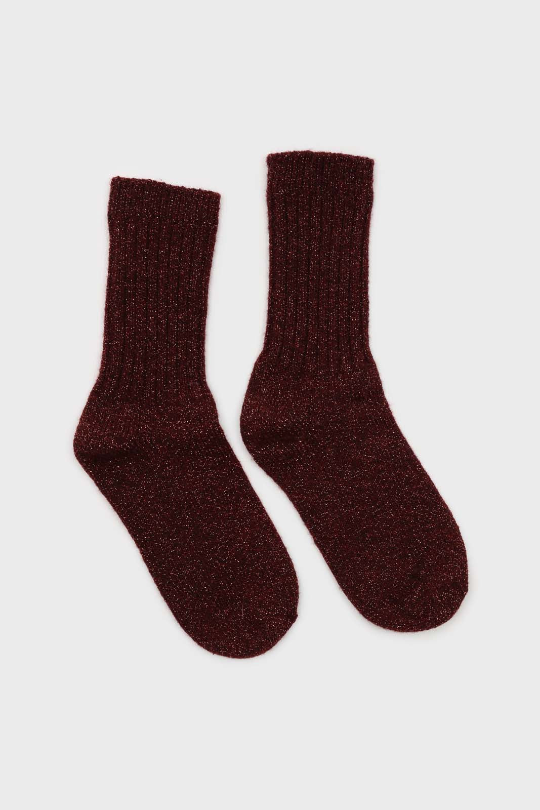 Burgundy and pink glitter ribbed long wool socks2