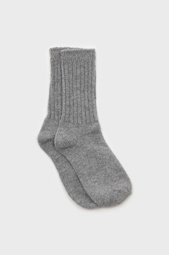 Grey and silver glitter ribbed long wool socks1sx