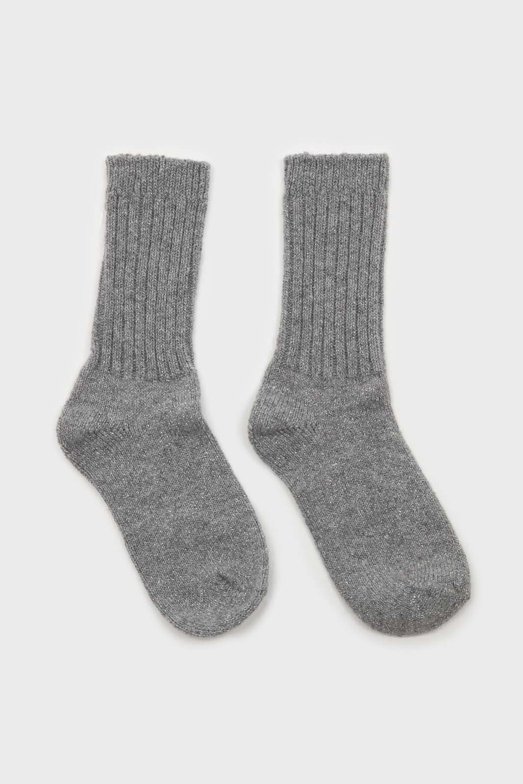 Grey and silver glitter ribbed long wool socks2