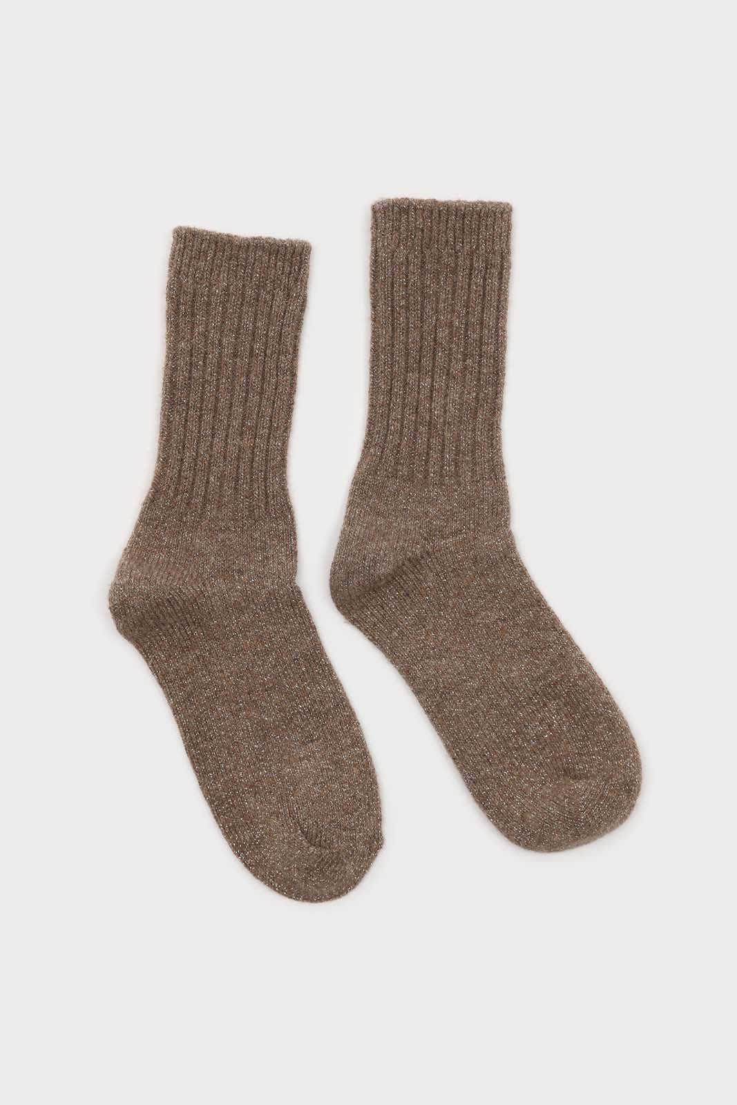 Cocoa and silver glitter ribbed long wool socks2
