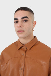 Camel vegan leather oversized shirt3