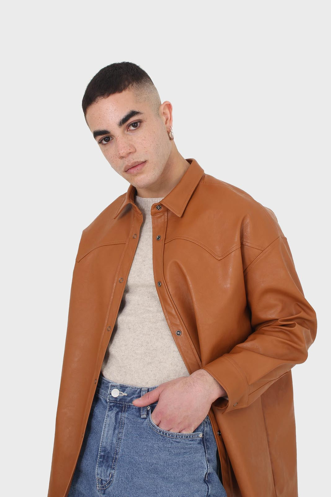 Camel vegan leather oversized shirt5