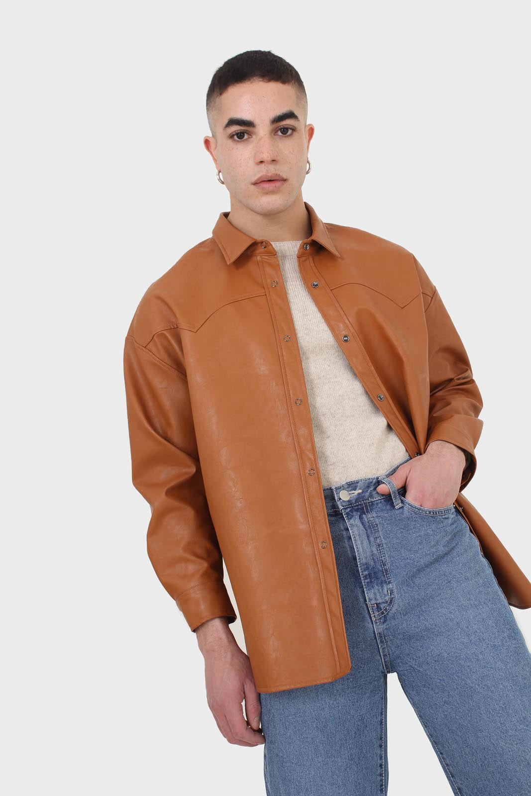 Camel vegan leather oversized shirt6