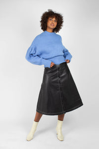Blue dropped puff sleeved jumper1