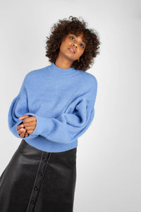 Blue dropped puff sleeved jumper3
