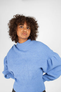 Blue dropped puff sleeved jumper4