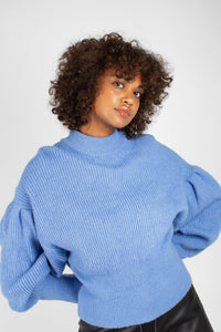 Blue dropped puff sleeved jumper5