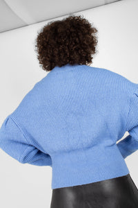 Blue dropped puff sleeved jumper6