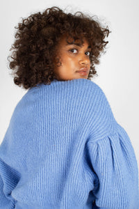 Blue dropped puff sleeved jumper7