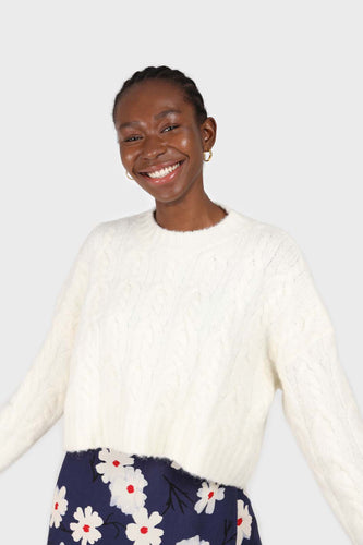 Ivory wool cableknit cropped crew neck jumper sx
