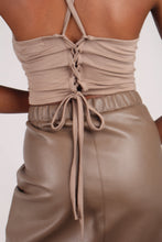 Load image into Gallery viewer, Brown vegan leather A-line skirt_5