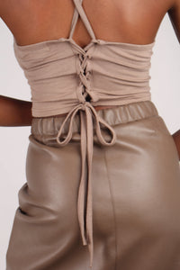 Brown vegan leather A-line skirt_5