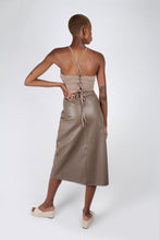 Load image into Gallery viewer, Brown vegan leather A-line skirt_3