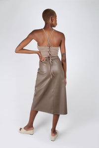 Brown vegan leather A-line skirt_3