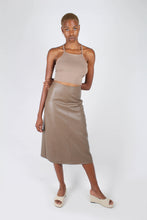 Load image into Gallery viewer, Brown vegan leather A-line skirt_1