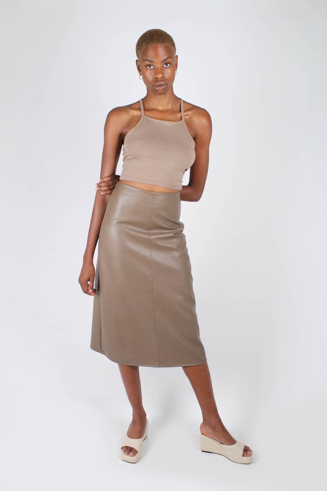 Brown vegan leather A-line skirt_1