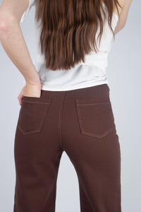 22308_Brown and ivory contrast stitch flare trousers_MCBBA1