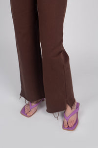 22308_Brown and ivory contrast stitch flare trousers_MDEBA1