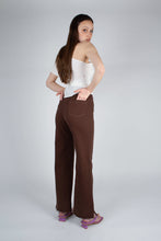 Load image into Gallery viewer, 22308_Brown and ivory contrast stitch flare trousers_MFBBA1