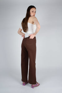 22308_Brown and ivory contrast stitch flare trousers_MFBBA1
