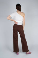 Load image into Gallery viewer, 22308_Brown and ivory contrast stitch flare trousers_MFBBA2