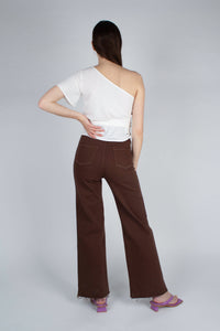 22308_Brown and ivory contrast stitch flare trousers_MFBBA2