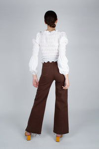 22308_Brown and ivory contrast stitch flare trousers_MFBBA3