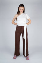 Load image into Gallery viewer, 22308_Brown and ivory contrast stitch flare trousers_MFFBA1