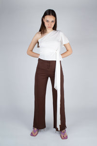 22308_Brown and ivory contrast stitch flare trousers_MFFBA1