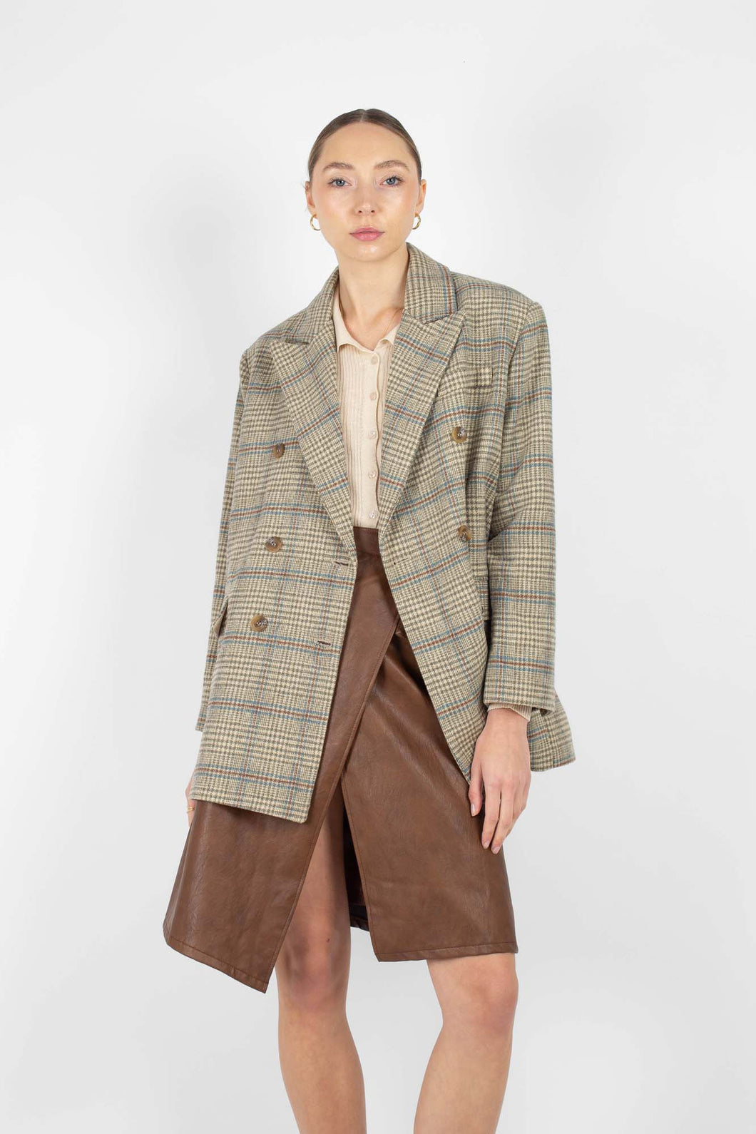 Khaki and blue checked double breasted oversized blazer1sx