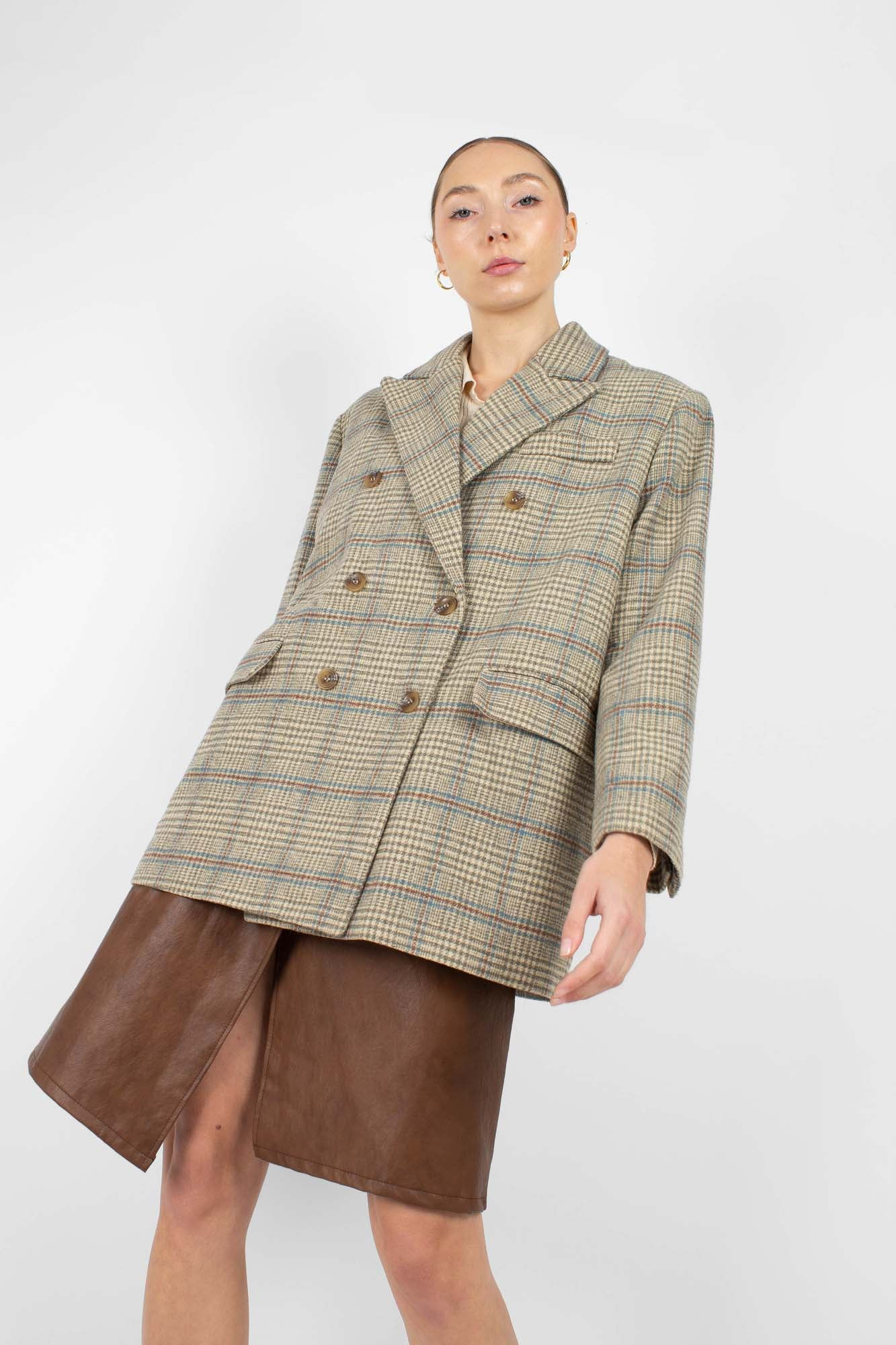 Khaki and blue checked double breasted oversized blazer2