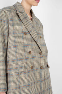 Khaki and blue checked double breasted oversized blazer3
