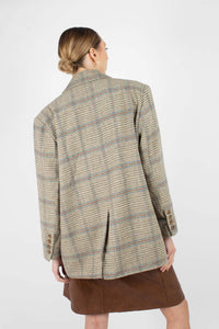 Khaki and blue checked double breasted oversized blazer4