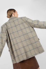 Load image into Gallery viewer, Khaki and blue checked double breasted oversized blazer5