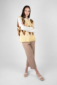 Beige wide leg ribbed knit trousers2