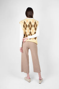 Beige wide leg ribbed knit trousers3