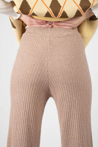 Beige wide leg ribbed knit trousers4