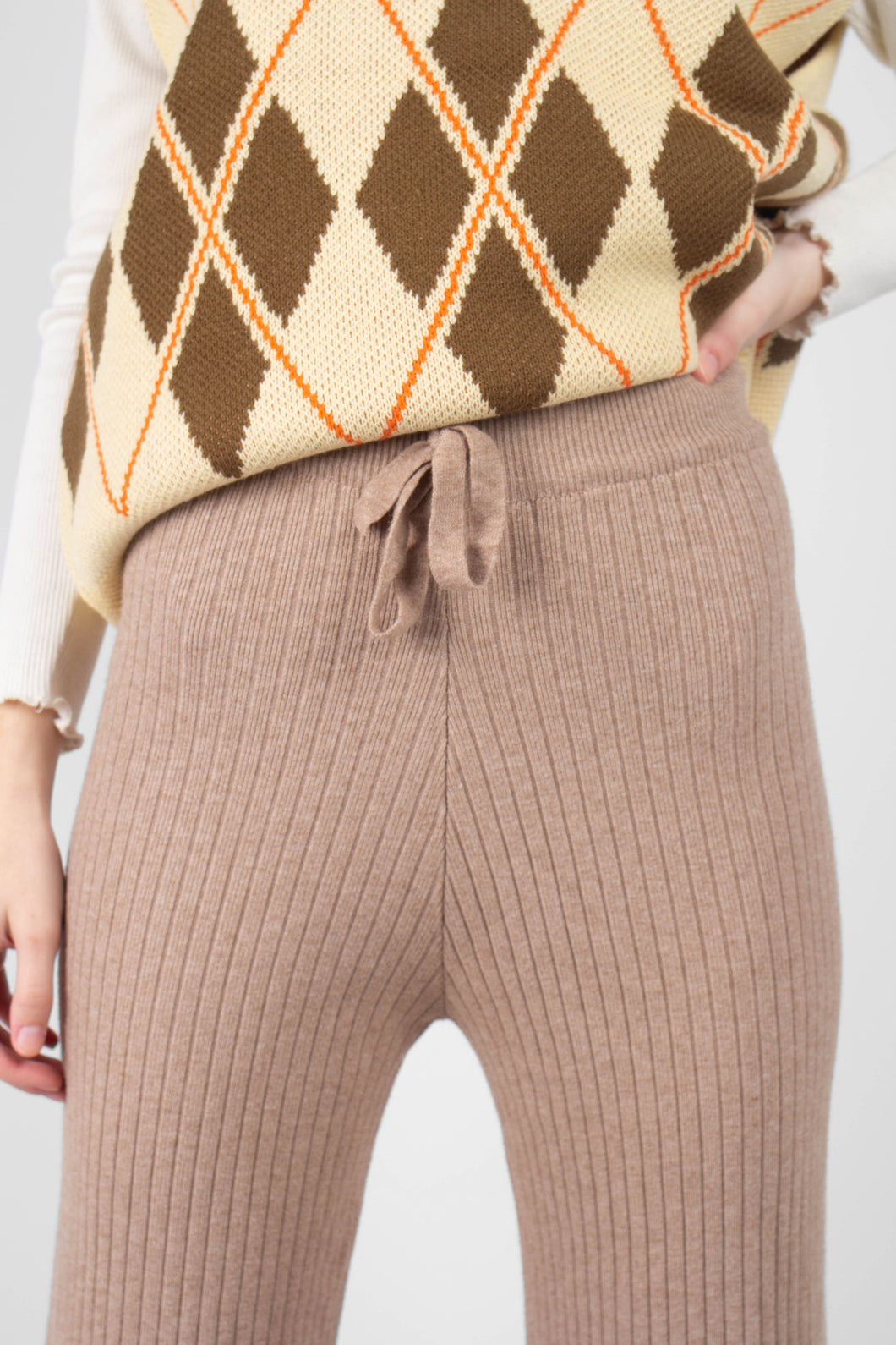 Beige wide leg ribbed knit trousers5