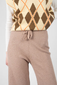 Beige wide leg ribbed knit trousers6