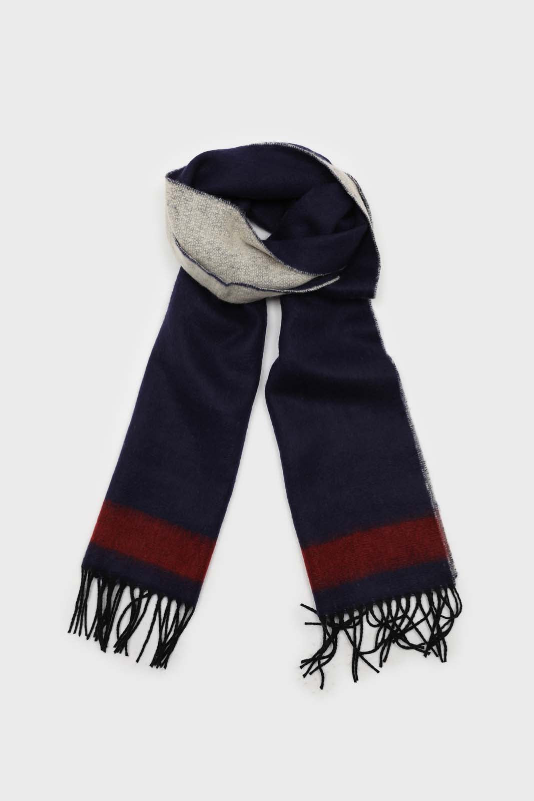 Navy and red contrast block fringe scarf1sx
