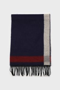 Navy and red contrast block fringe scarf2