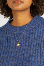 Load image into Gallery viewer, Blue flecked chunky knit cropped jumper10