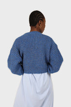 Load image into Gallery viewer, Blue flecked chunky knit cropped jumper6