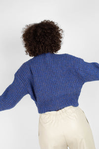 Blue flecked chunky knit cropped jumper8