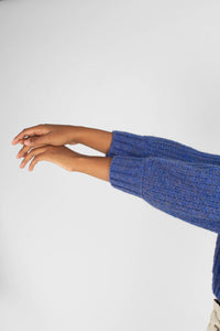 Blue flecked chunky knit cropped jumper9