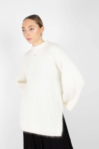 Ivory ribbed side split oversized angora jumper1