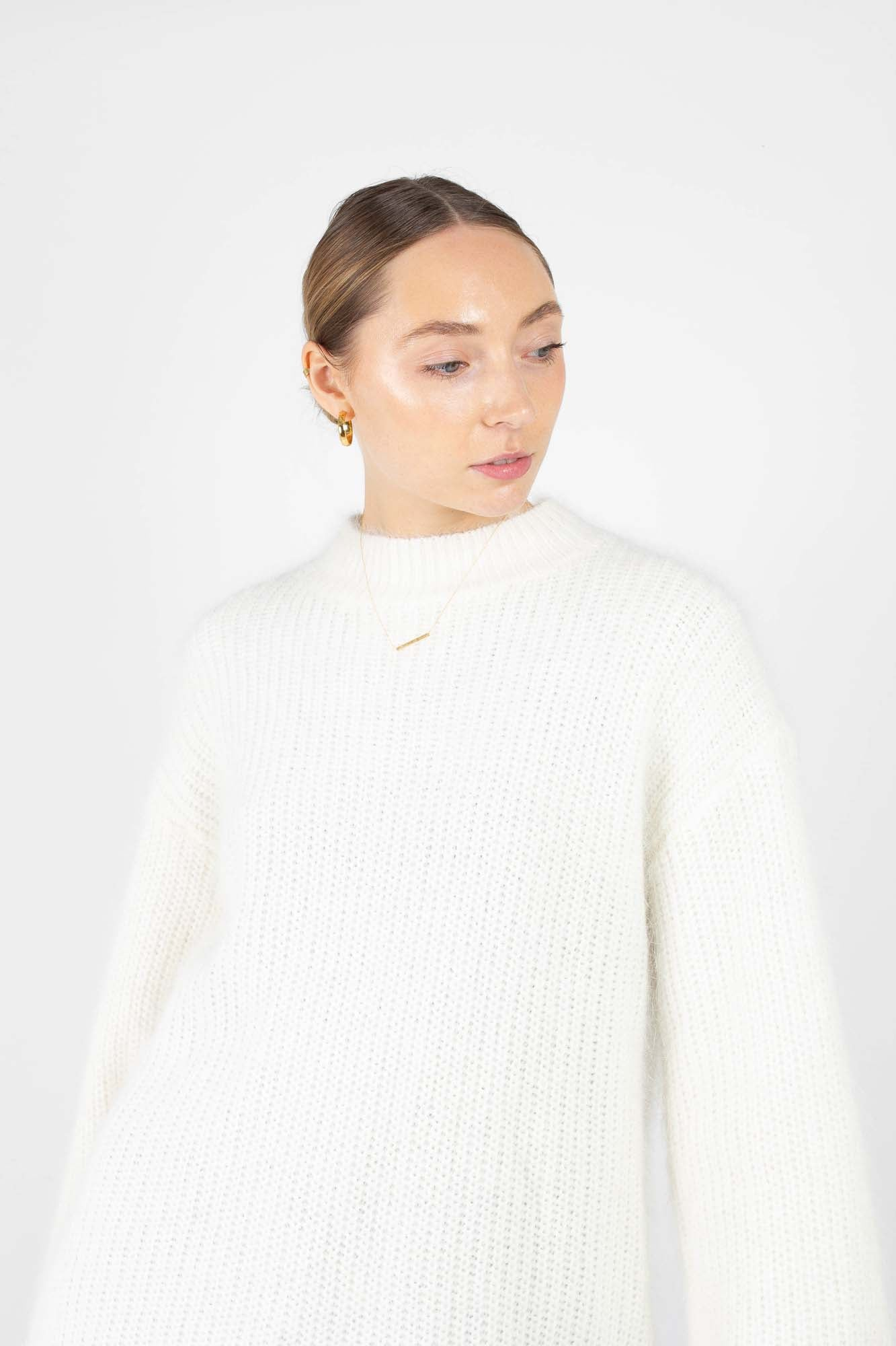 Ivory ribbed side split oversized angora jumper2
